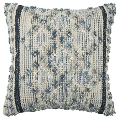 Rizzy Home Throw Pillow, 20  x 20 , Blue/Gray