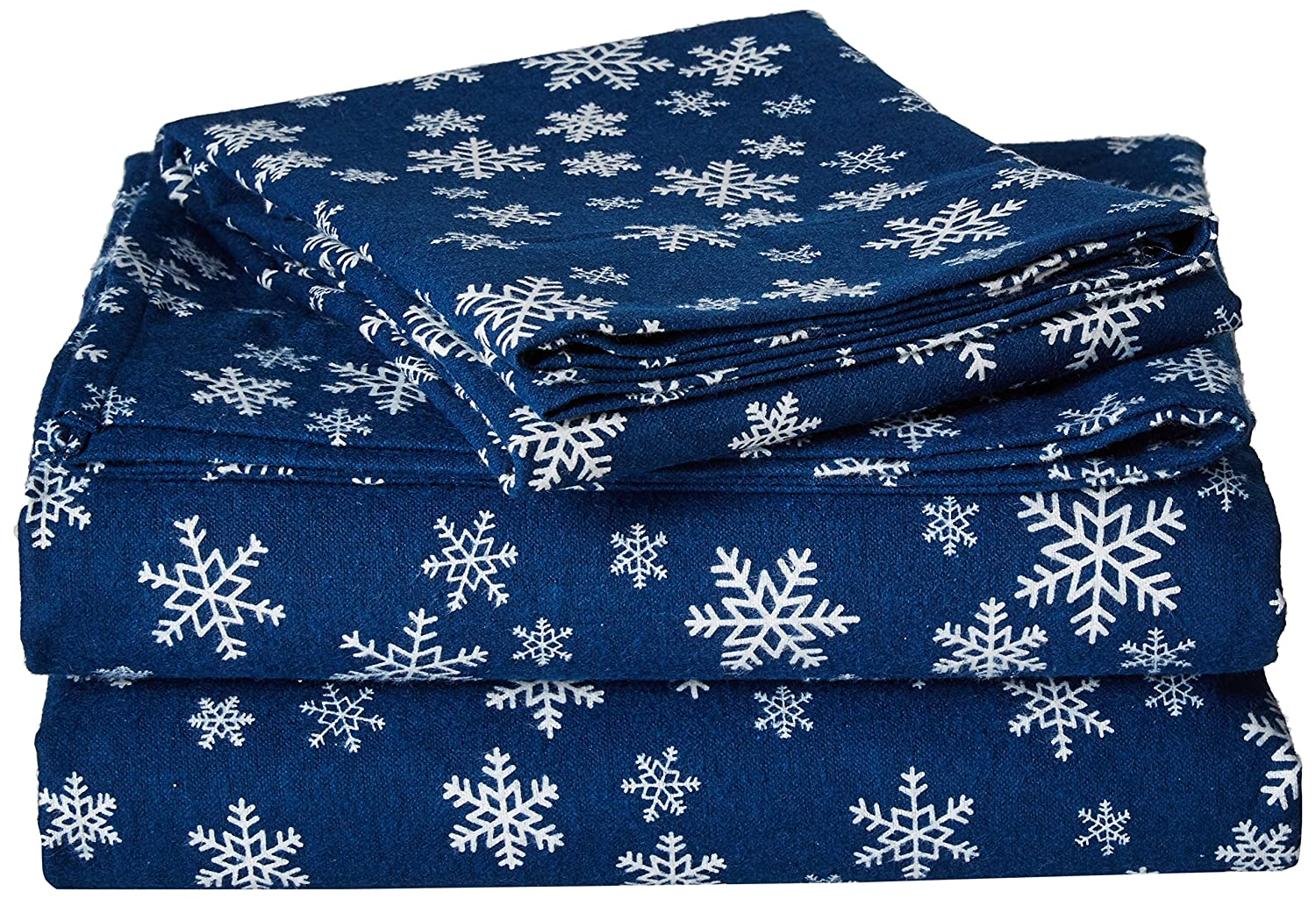 Brielle Cotton Flannel Sheet Set, Twin, Navy Snowflake