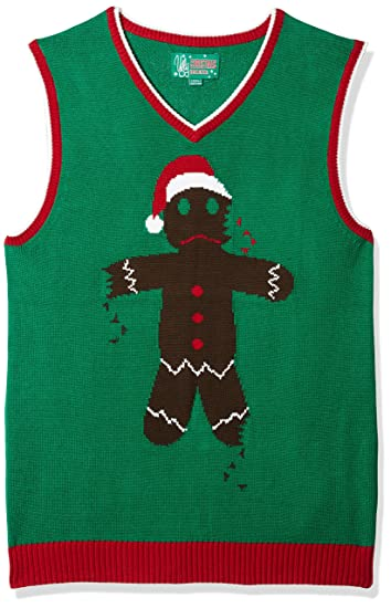 Ugly Christmas Sweater Men's Gingerbread Man Vest, Emerald