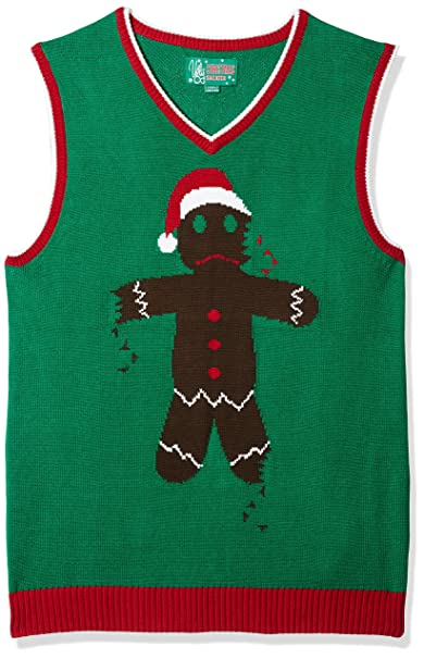 ugly christmas sweater mens ginger vest emerald small