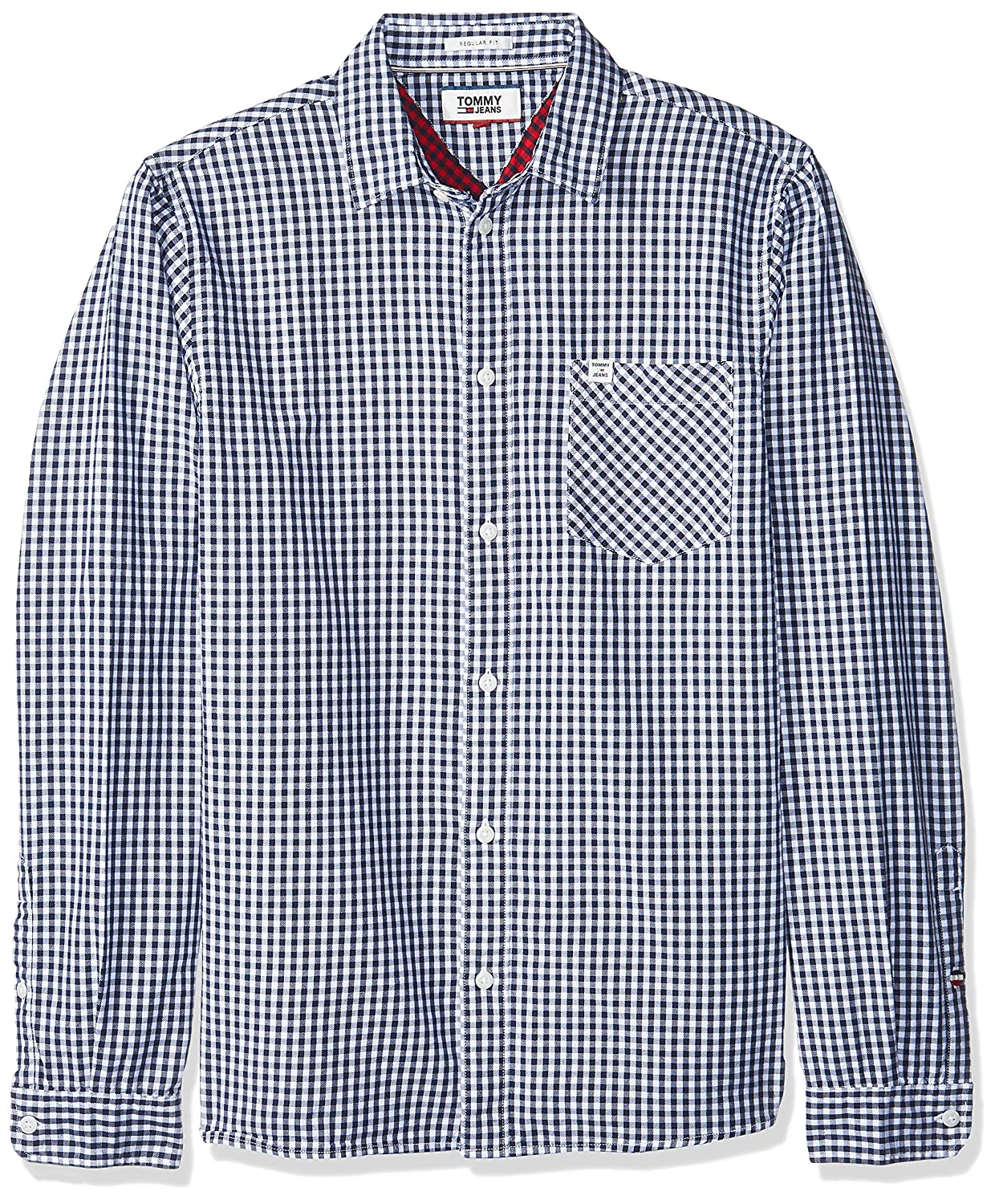 Tommy Jeans Hombre Essential Gingham Check Camisa Manga Larga