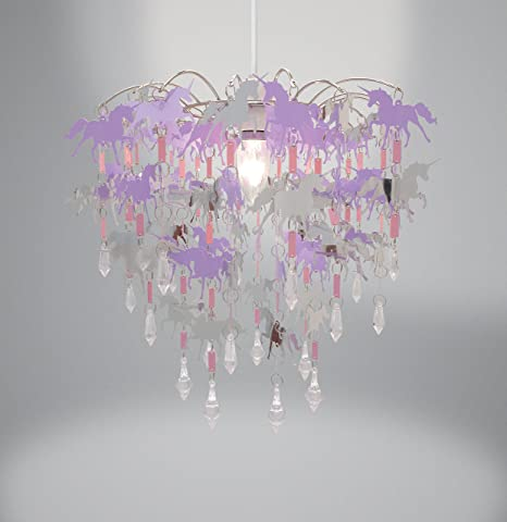 Unicorn children ceiling lights bedroom chandelier pink purple and silver light shade lamp ceiling pendant light