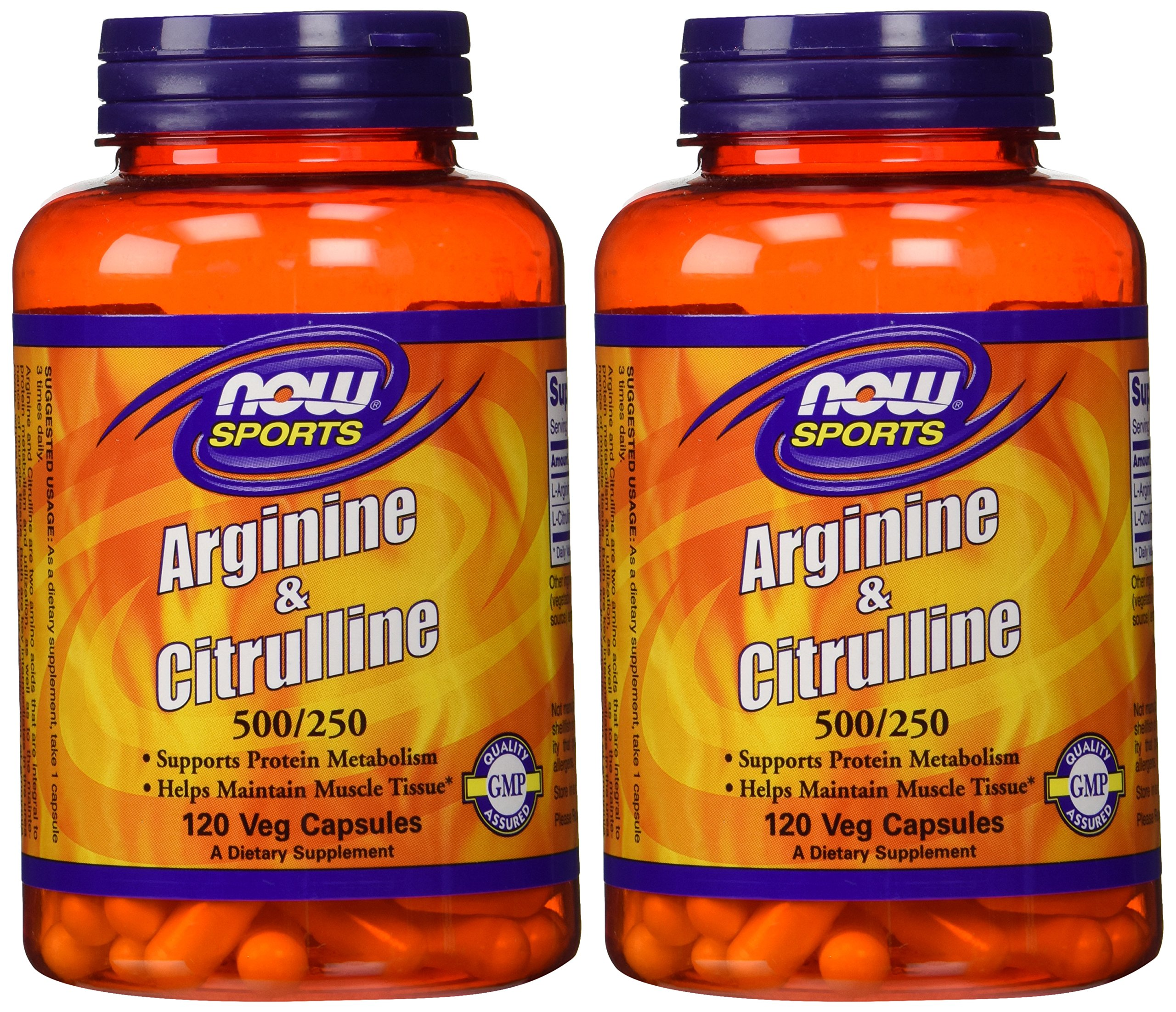 Arginine & Citrulline 500/250mg - 120 Capsules (2 Pack) by NOW Foods