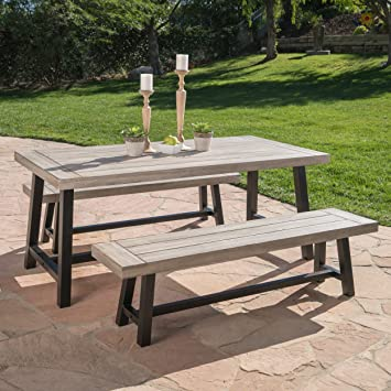 Amazoncom Cassie Outdoor Piece Light Grey Sandblast Finish - Picnic table finish