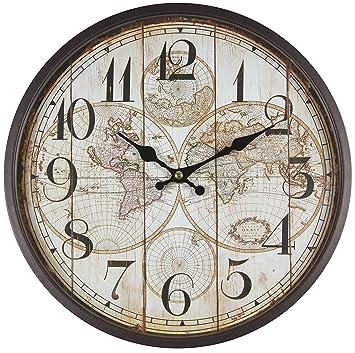 Reloj de pared de metal lacado con esfera de cristal y diseño vintage de Perla PD DesignDiámetro: 30 cm., metal, mapamundi: Amazon.es: Hogar