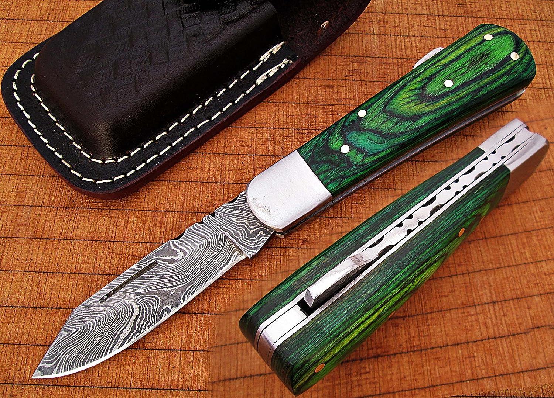 Custom Made Damaskus 16,3cm Awesome zusammenklappbar Taschenmesser mit Grün Farbe exotic Holz Griff Klinge unter 7,6cm (bdm-694)