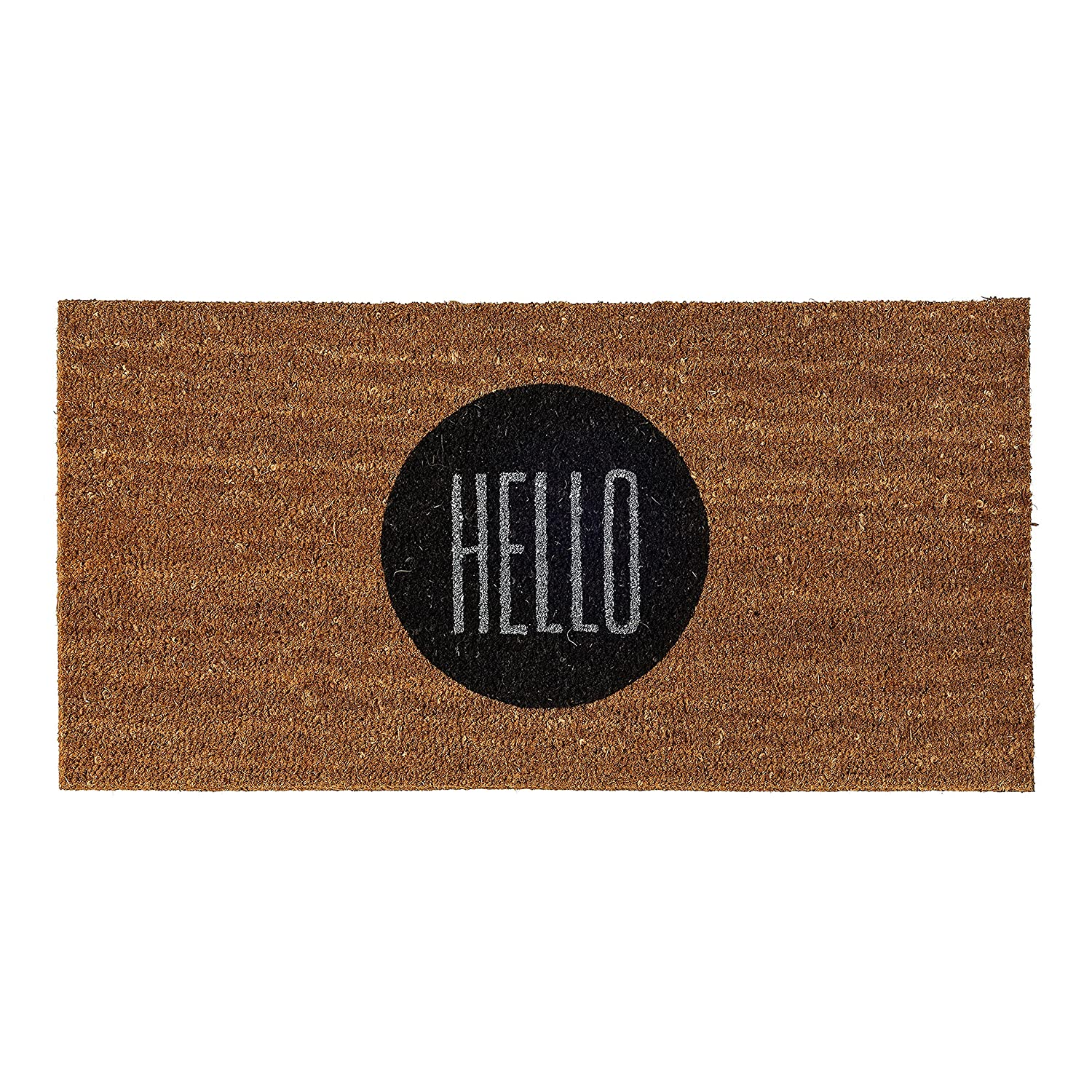 Bloomingville 31-1/2L x 15-3/4W Coir Doormat with Hello A76200004