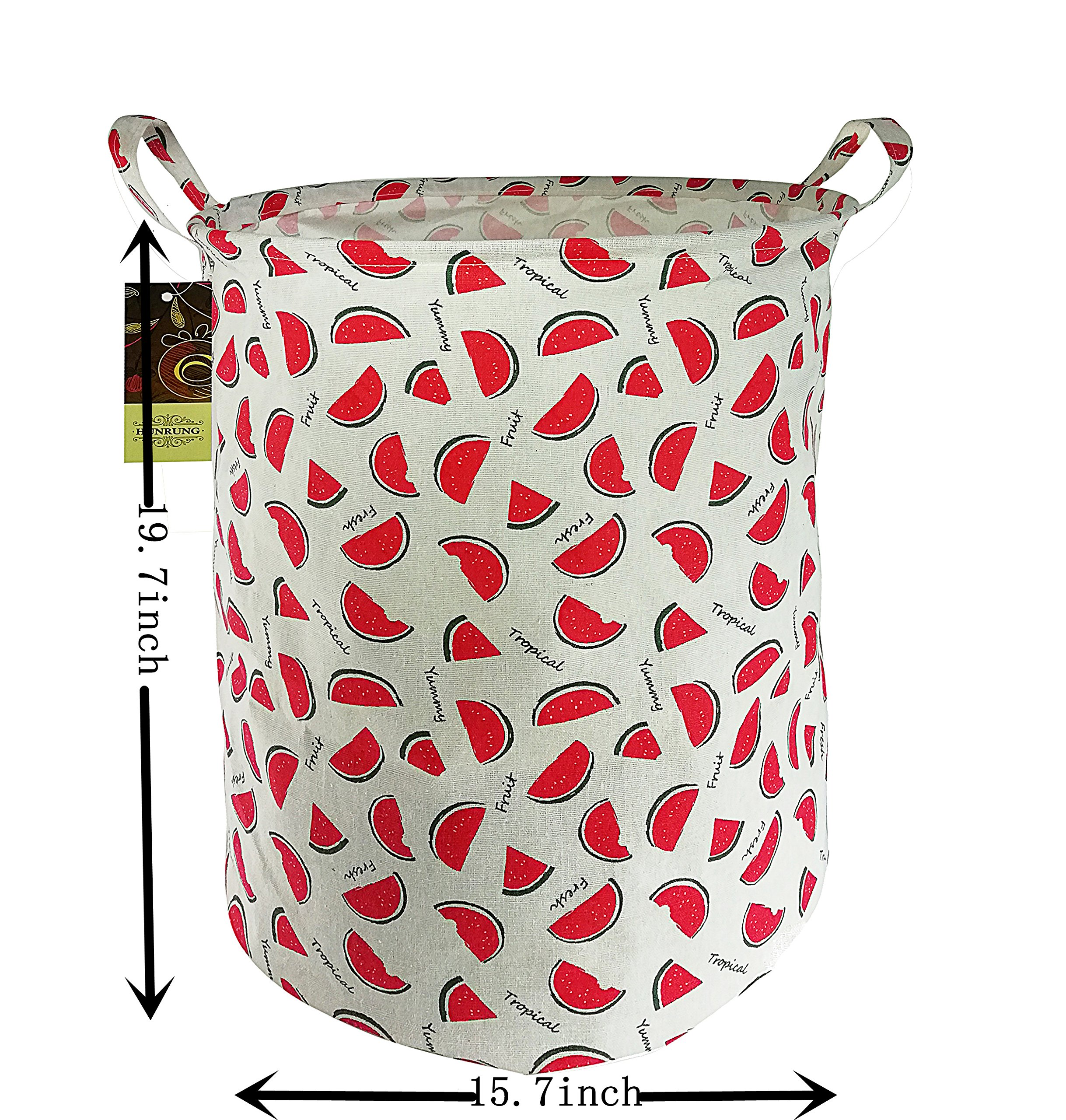 HUNRUNG Large Canvas Fabric Lightweight Storage Basket/Toy Organizer/Dirty clothes Collapsible Waterproof for College Dorms, Kids Bedroom,Bathroom,Laundry Hamper (watermelon) by HUNRUNG (Image #2)