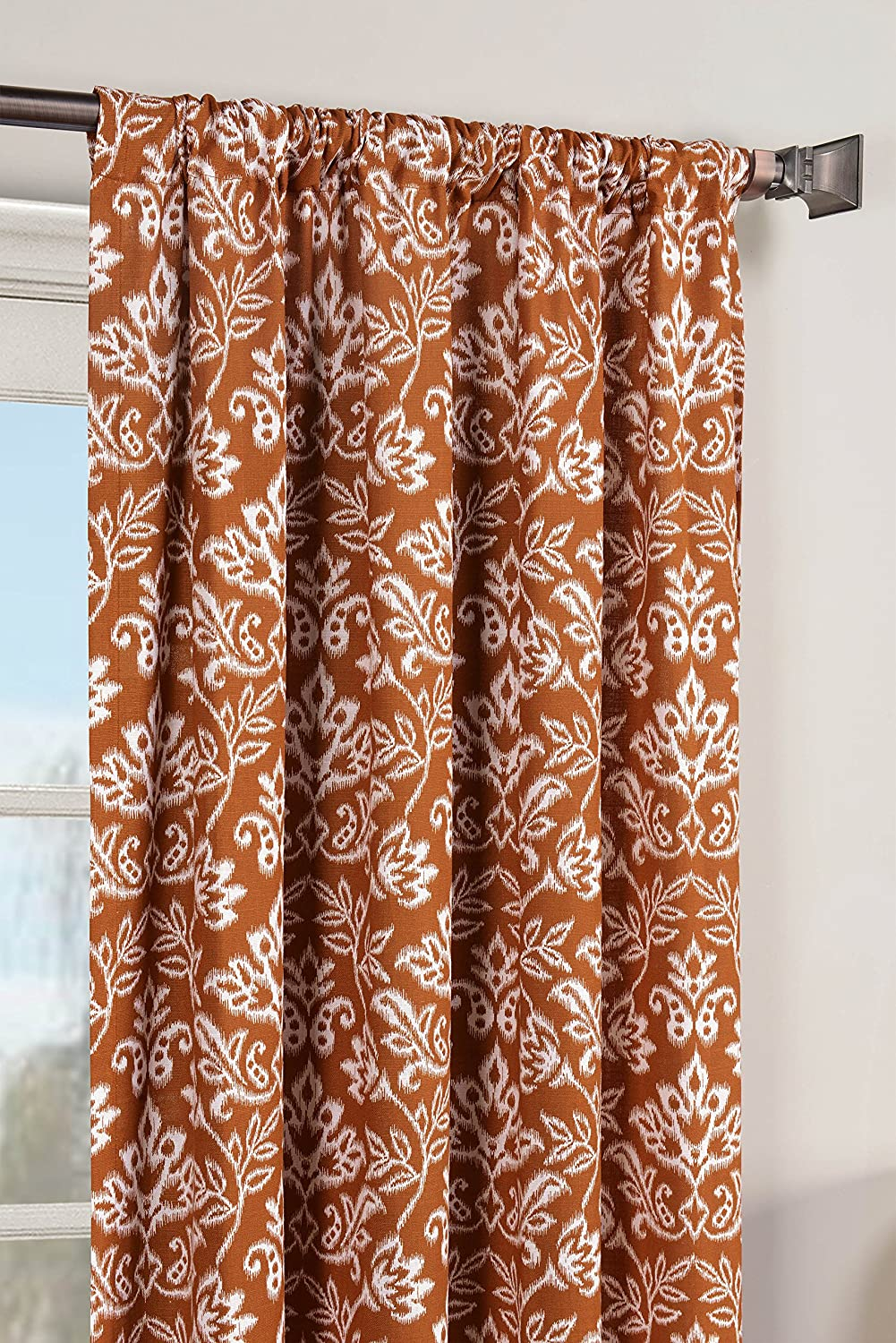 Window Elements Valencia Printed Cotton Rod Pocket Curtain Panel Pair, Rust