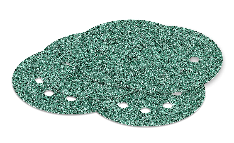 Haft Klett Schleifpapier 10 St/ück 125 mm Exzenter Schleifscheiben P60 K/örnung green Film 8 Loch