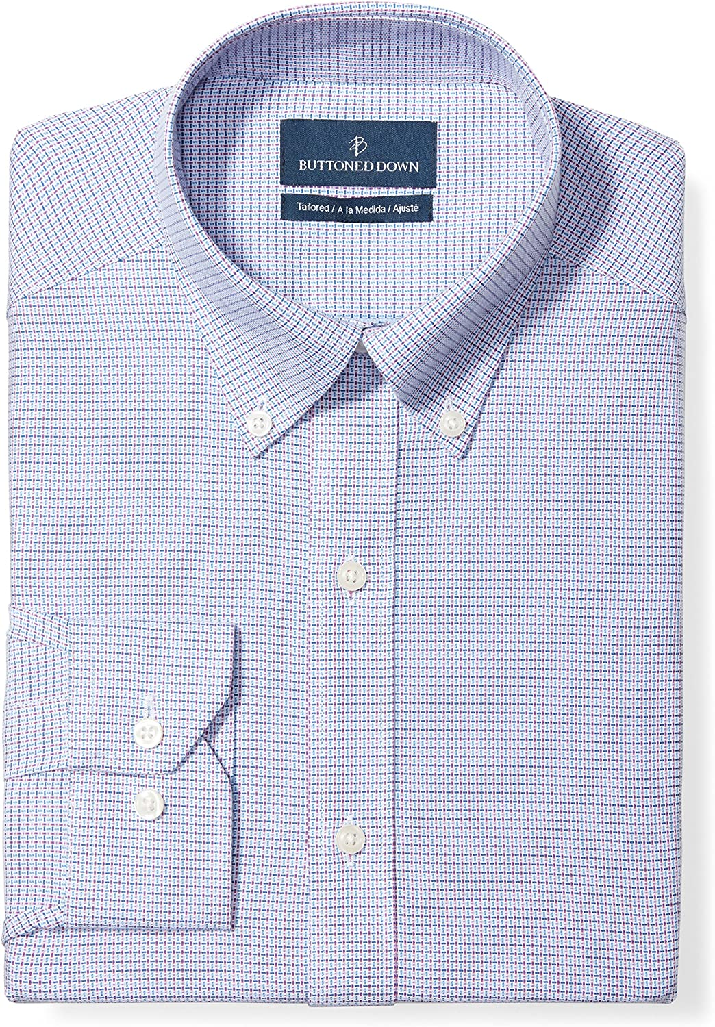 Amazon Brand - Buttoned Down Men's Tailored Fit Button Collar Pattern Dress Shirt