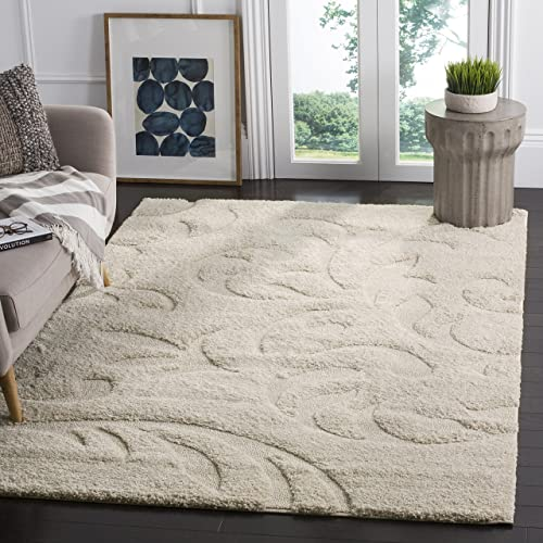 Safavieh Florida Shag Collection SG468-1111 Cream and Cream Area Rug 6 x 9