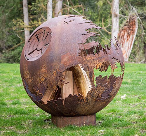 Cedar Creek Sculptures Death Star Fire Pit Globe, Wood Burning Build The Galactic Empires Ultimate Fire 37 Round Fire Bowl