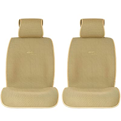 Sojoy Universal Four Season Fashionable Car Seat Cushion Cover for Front of 2 Seats Honeycomb Cloth (Cream): Home & Kitchen