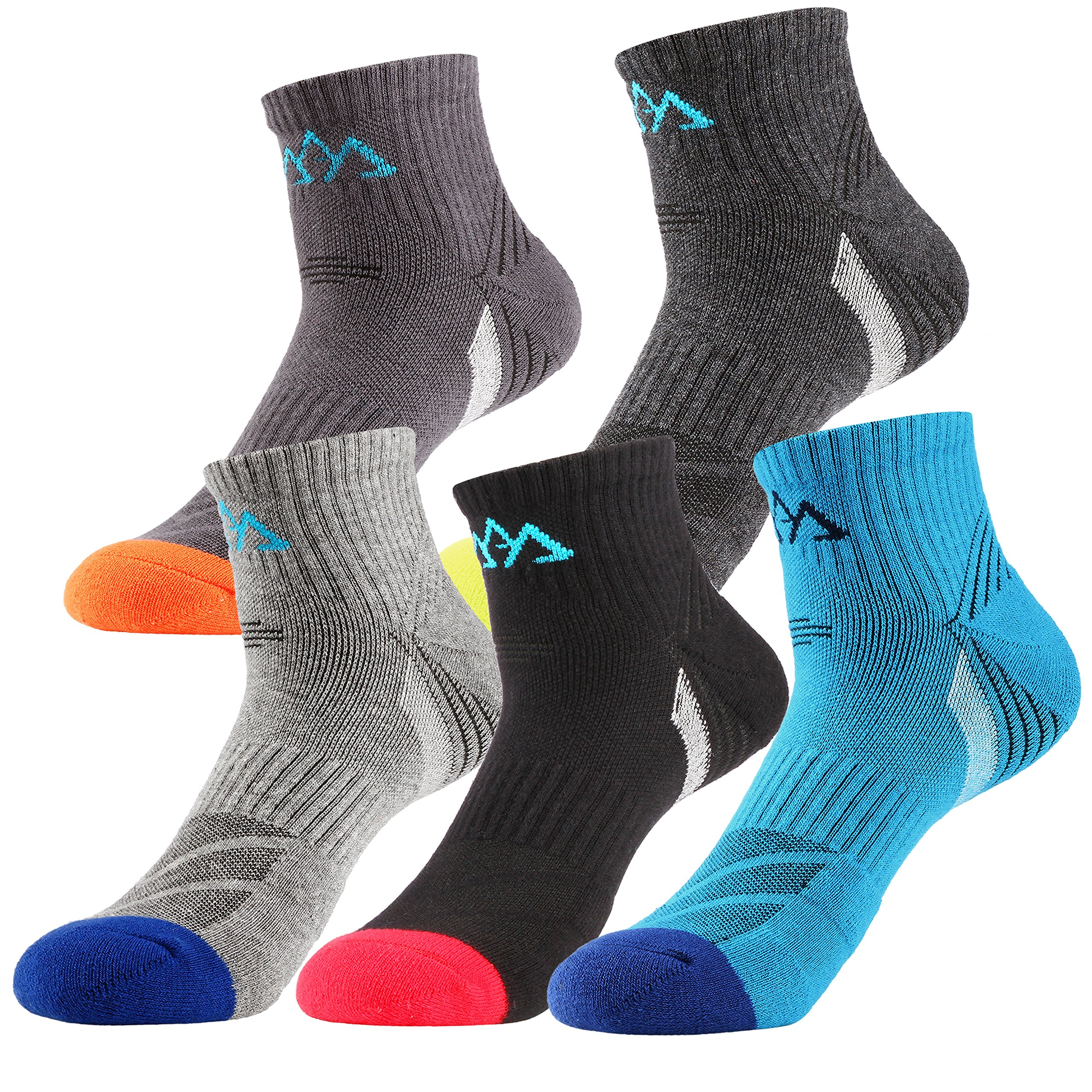 Will Well 5 Pack Mens Hiking Socks, Micro Crew Half Thickness Cushion Running Sports Performance Summer by Will Well (Image #5)
