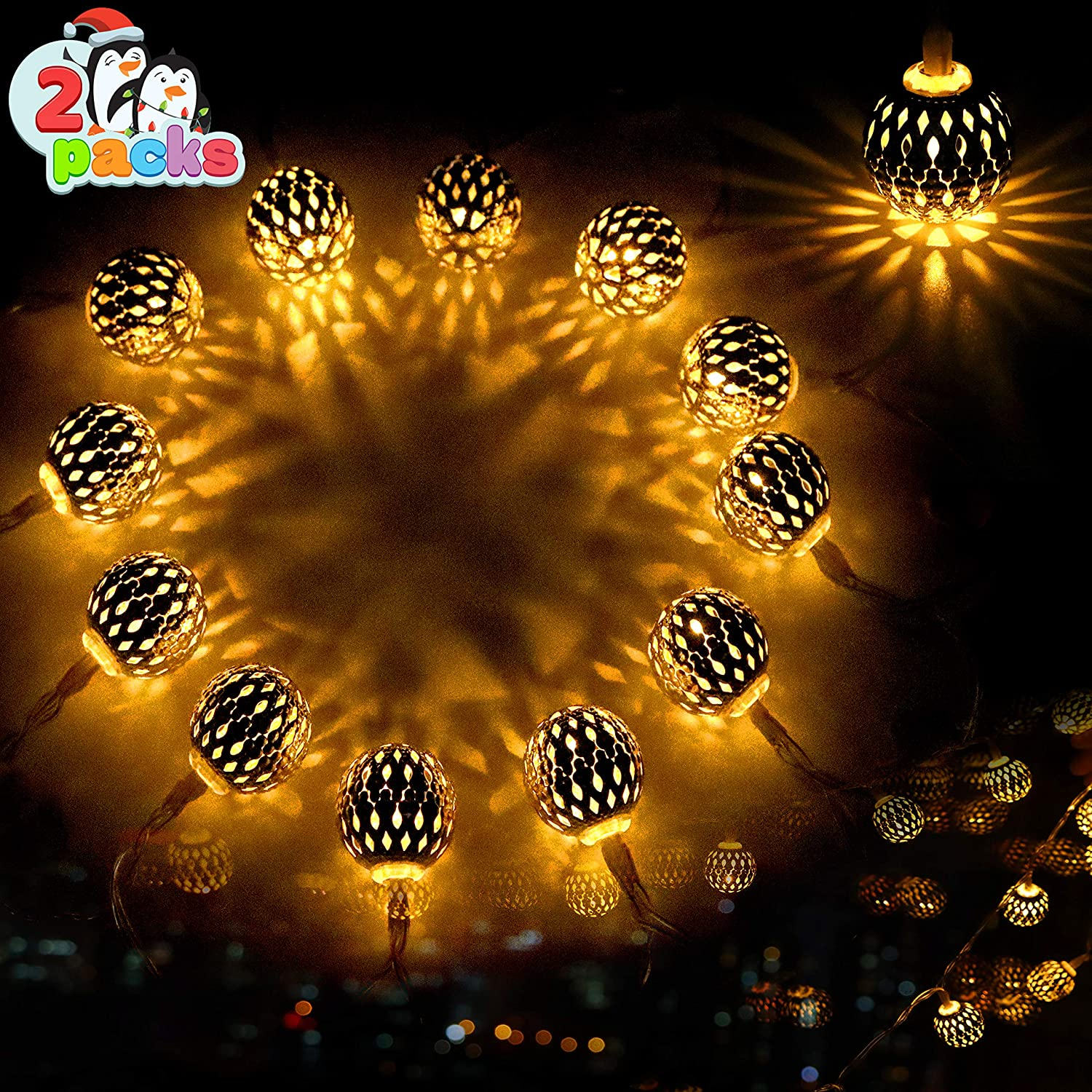 Joiedomi 2 Packs 13.5ft 40 LED Moroccan Globe String Fairy Lights (Warm White) Hanging Battery Operated for Christmas Home Party, Xmas Lanterns Decoration, Diwali Lights Décor