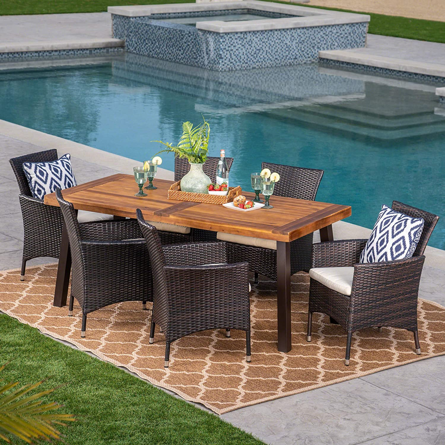 Christopher Knight Home 304312 Randy | Outdoor 7-Piece Acacia Wood and Wicker Dining Set with Cushions | Teak Finish | in Multibrown/Beige, Rustic Metal