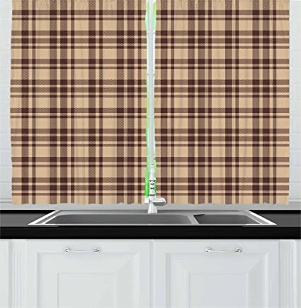 Amazon Com Ambesonne Tan And Brown Kitchen Curtains Old Fashioned