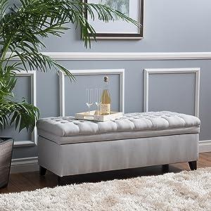 Christopher Knight Home 296870 Laguna Tufted Fabric Storage Ottoman, Light Grey