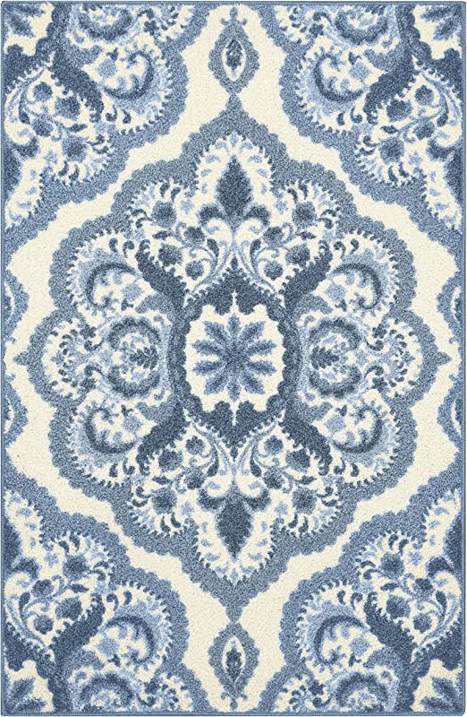 Maples Rugs Vivian Medallion Kitchen Rugs Non Skid Accent Area Carpet [Made  in USA], 2\'6 x 3\'10, Blue