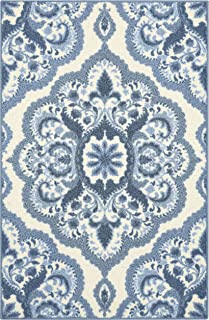 product image for Maples Rugs Vivian Medallion Kitchen Rugs Non Skid Accent Area Carpet [Made in USA], 2'6 x 3'10, Blue