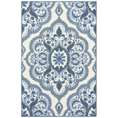 Maples Rugs Kitchen Rug - Vivian 2.5 x 4 Non Skid Small Accent Throw Rugs  [Made in USA] for Entryway and Bedroom, 2\'6 x 3\'10, Blue