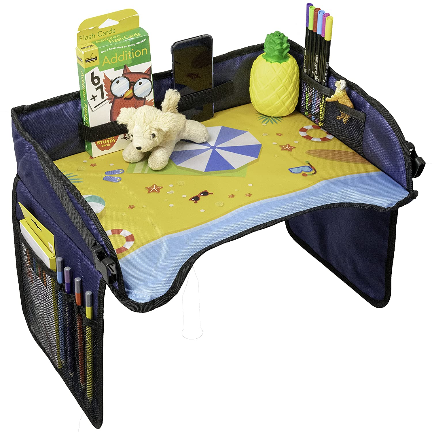 Toddler Car Seat Travel Tray by Samba Kids, Kids Travel Tray for Car or Airplane Seats, Booster Seat, Activity Lap Organizer and Snack Tray, Keep Kids Busy on Road Trips or at Home (Mountain)