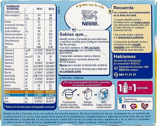 Nestlé - Leche y Cereales Sin Gluten - 6 Packs de (2x250 ml)