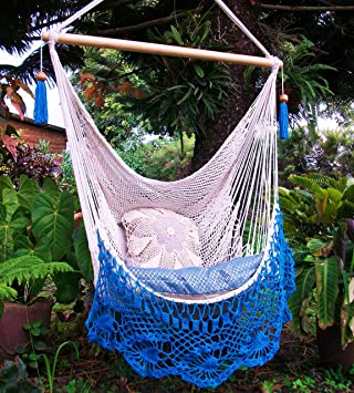 beautiful hammock chair crochet with beige and light blue edge  indoor outdoor chair hammock  amazon     beautiful hammock chair crochet with beige and light      rh   amazon