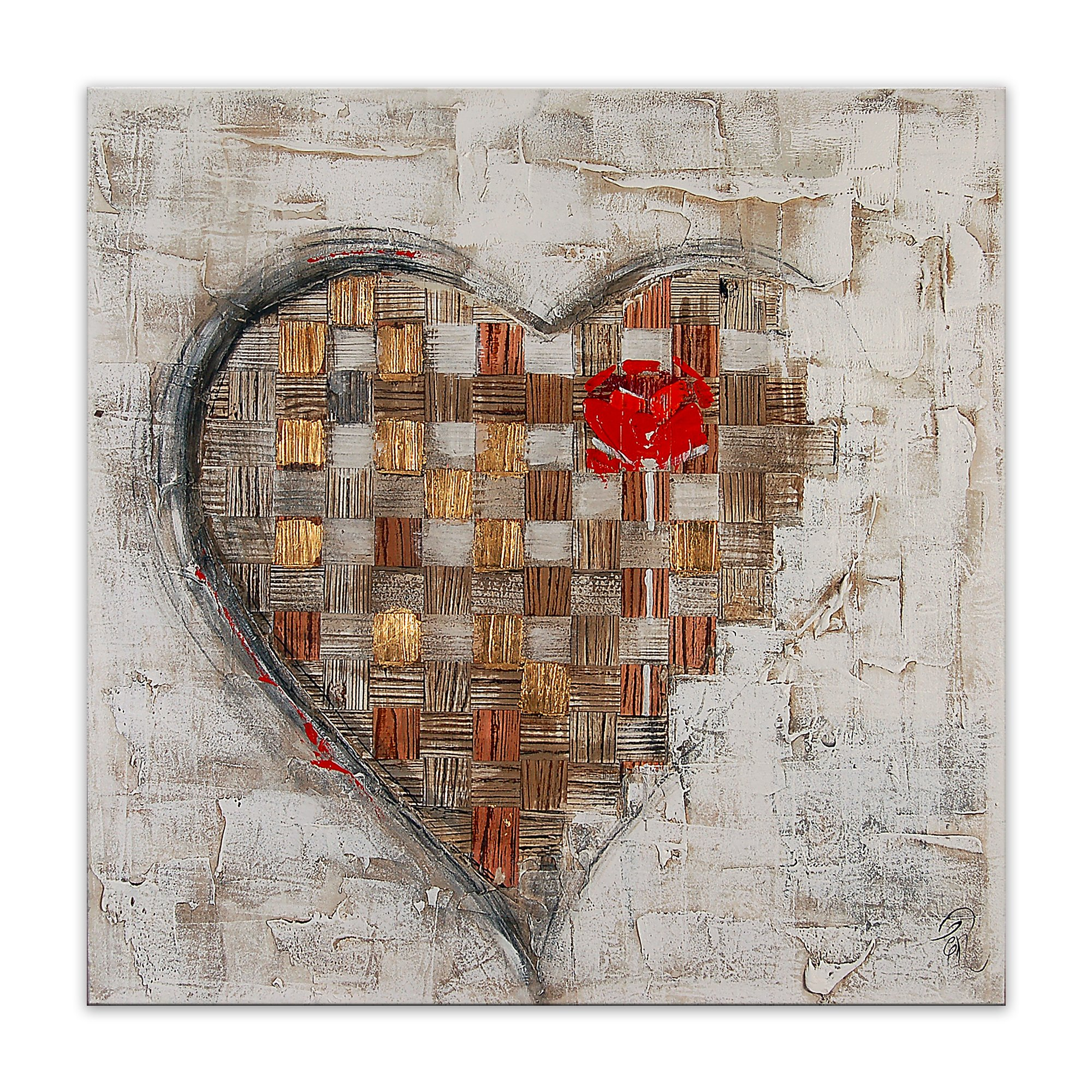 World Art TW60097 Aesthetic Wooden Frame Heart with Rose 80x80x3.5 cm Size: 32 x 32 x 2 Inch