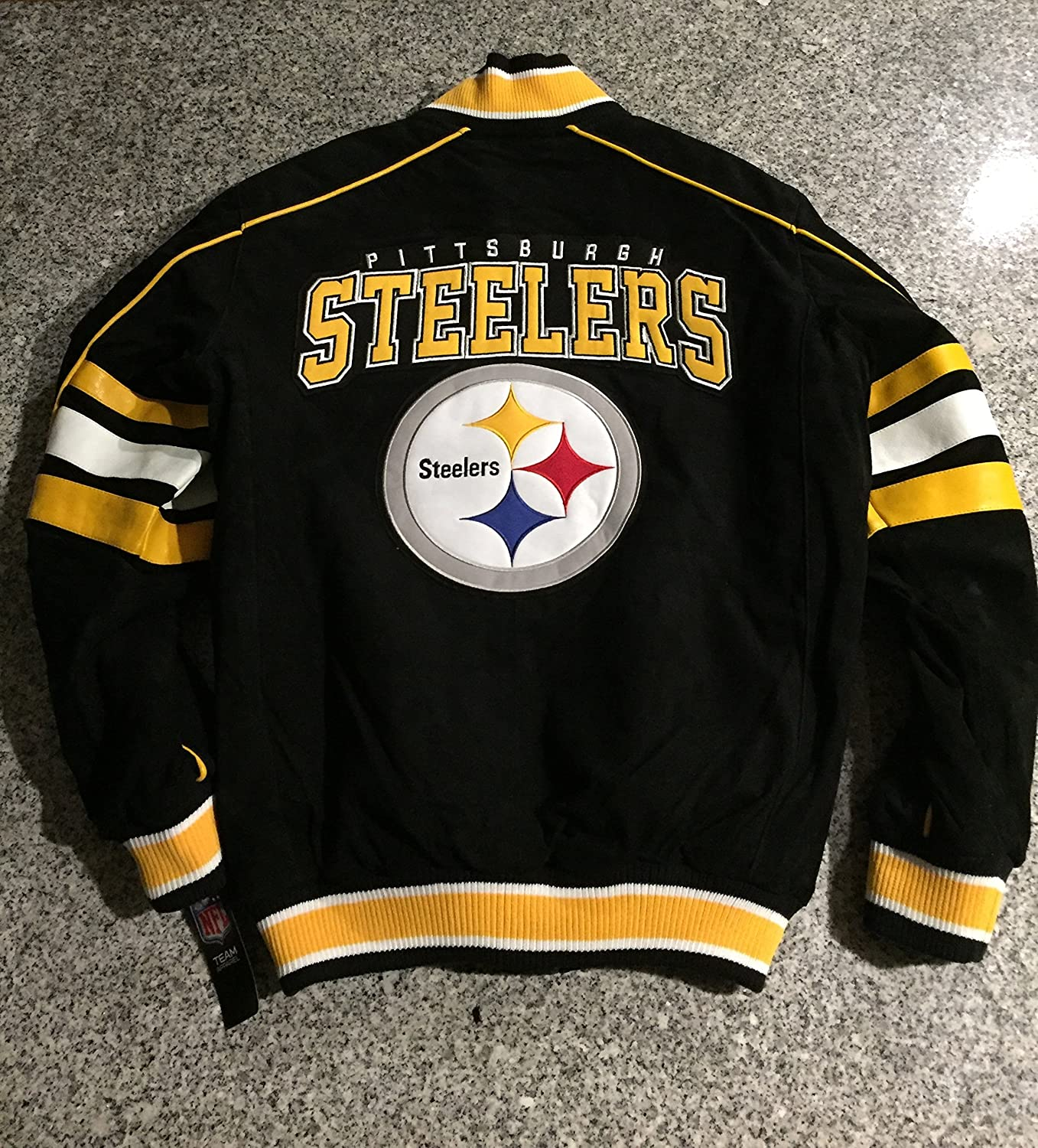 the latest 171f5 71b2b Pittsburgh Steelers Suede Leather Jacket Varsity Style NFL Coat