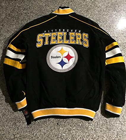 the latest a4916 4fb1d Pittsburgh Steelers Suede Leather Jacket Varsity Style NFL Coat