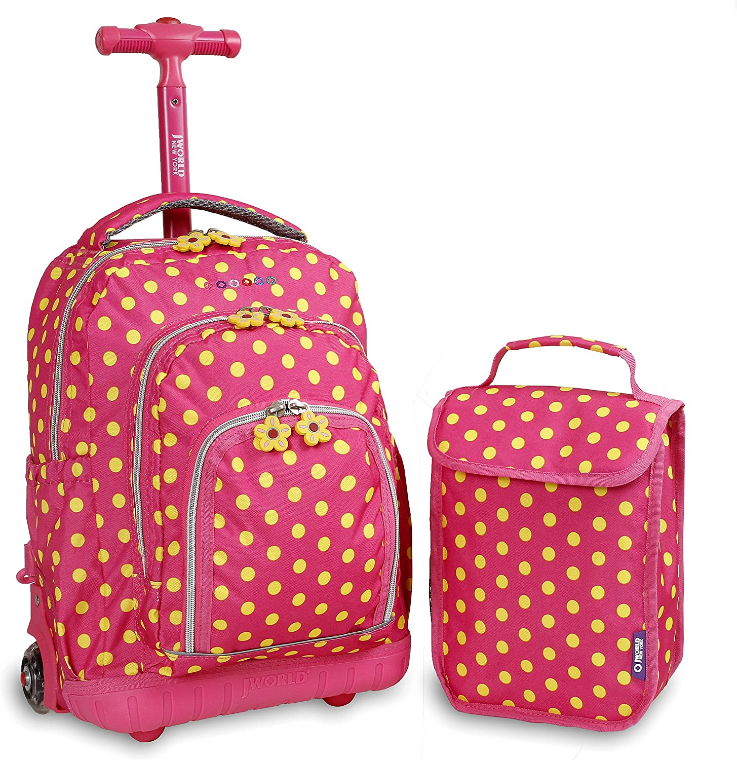 J World New York Kids' Lollipop Rolling Backpack with Lunch Bag, Pink Buttons, 16""