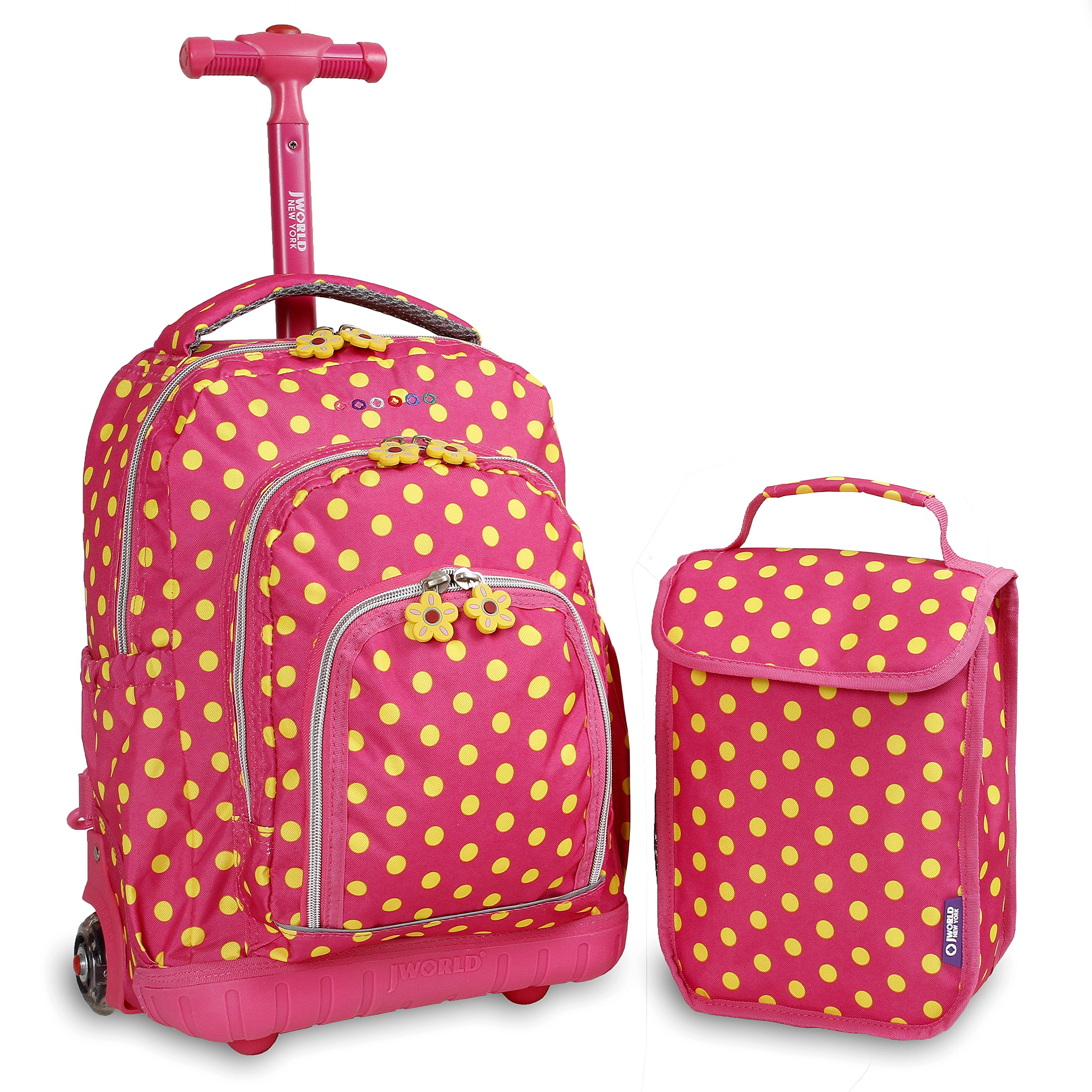 J World New York Boys' Lollipop Rolling Lunch Bag Kid's Backpack with Self-Magnetic Sparkling Wheel and'FREE'Lunch, Pink Buttons