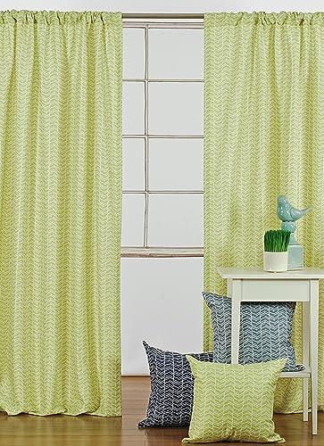 LJ Home Fashions 228 Chevron Geometric Print 100 Privacy Rod Pocket Curtain Panels Set of 2 52″ W X 95″ L