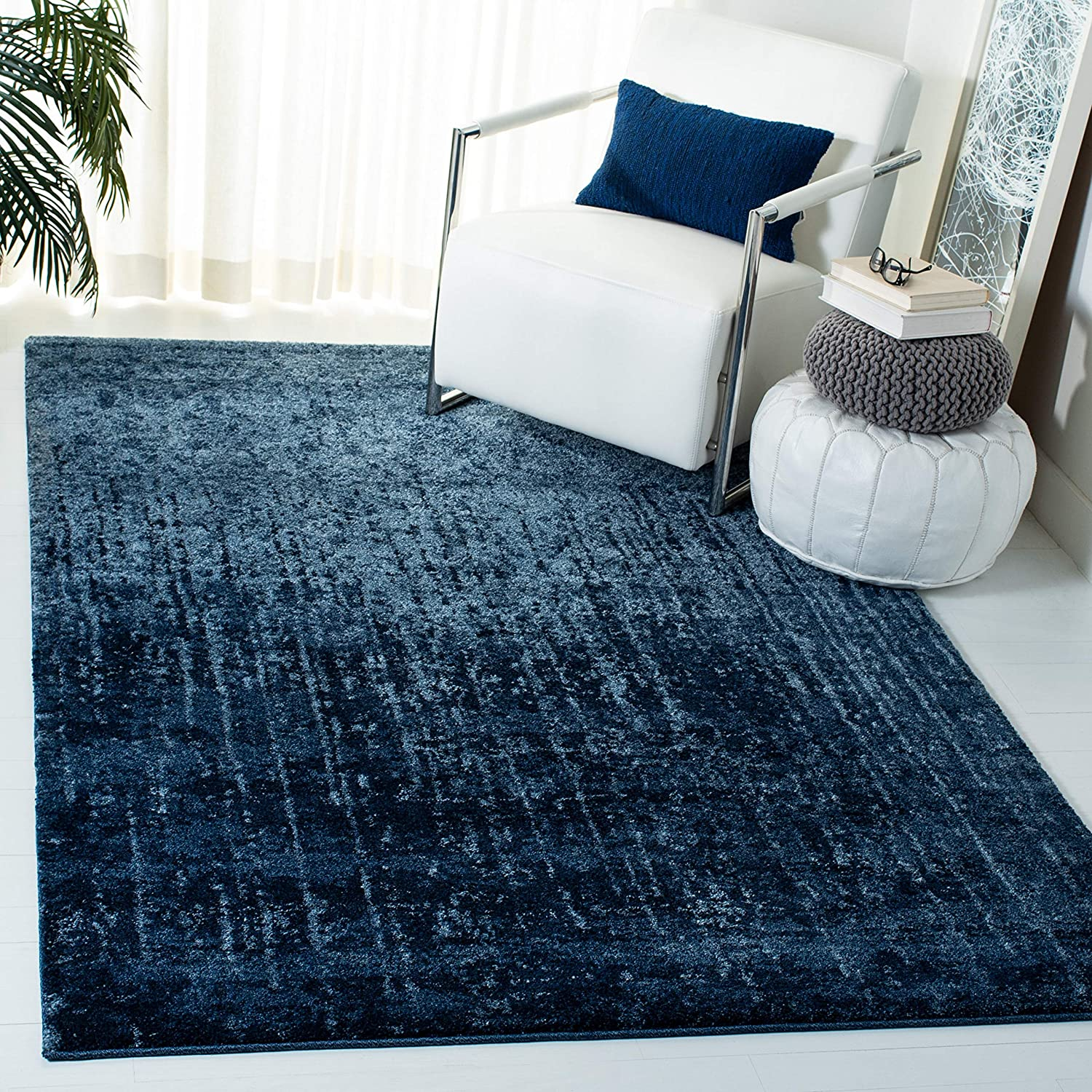 Safavieh Retro Collection Ret2770 Modern Abstract Non Shedding Stain Resistant Living Room Bedroom Area Rug 3 X 5 Light Blue Blue Furniture Decor