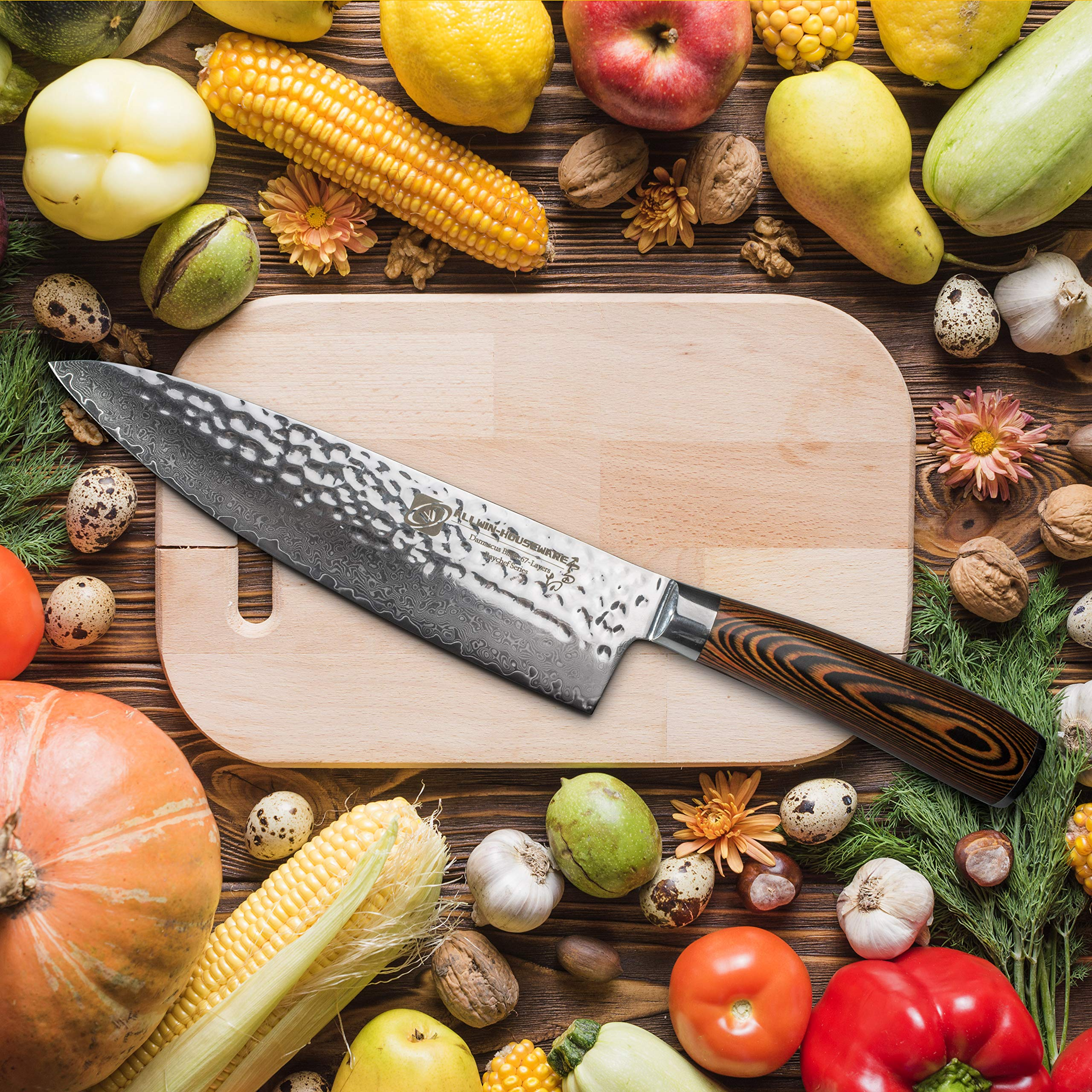 Damascus Chef Knife with Japanese VG10 Super Steel Core, Professional 67-layer Handmade 8'' PAKKA Wood Handle Damascus Chefs Knife by ALLWIN-HOUSEWARE W (Image #5)