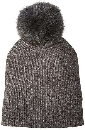 de4599da20ae6e Sofia Cashmere Women's Cashmere Fur Pom Hat-Slouchy, Castlerock + Gold  Lurex/Charcoal ONE at Amazon Women's Clothing store: