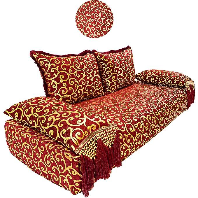 Marrakesch Elvedin - Sofá esquinero Oriental de 200 cm, 6 plazas, Conjunto de sofá marroquí para salón, Incluye cojín de sofá, Esquina árabe combinable como ...