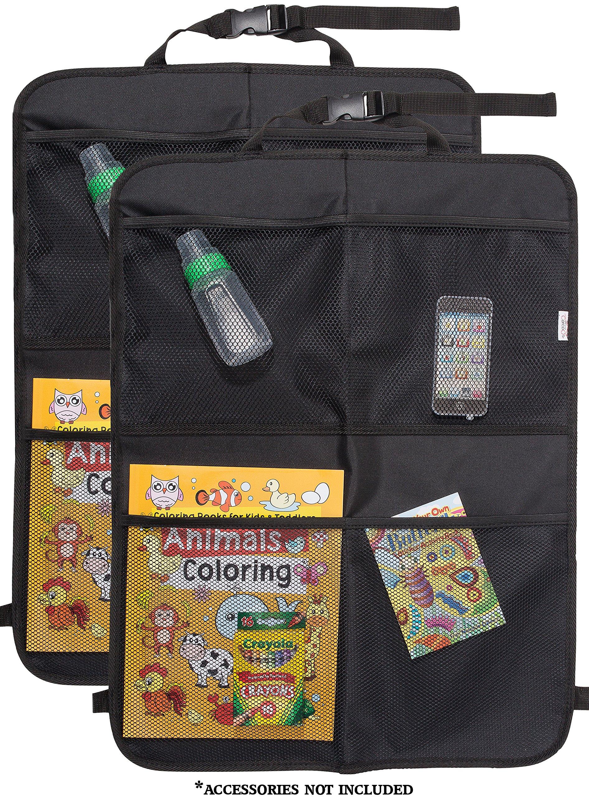 CarCoo Kick mat Back seat Protector for Kids, Large car seat Back Cover, Universal fit, Waterproof Organizer Kick mats, 2 Pack.