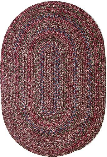 Sonya Indoor Outdoor Oval Reversible Braided Rug, 4 by 6-Feet, Burgundy Multicolor
