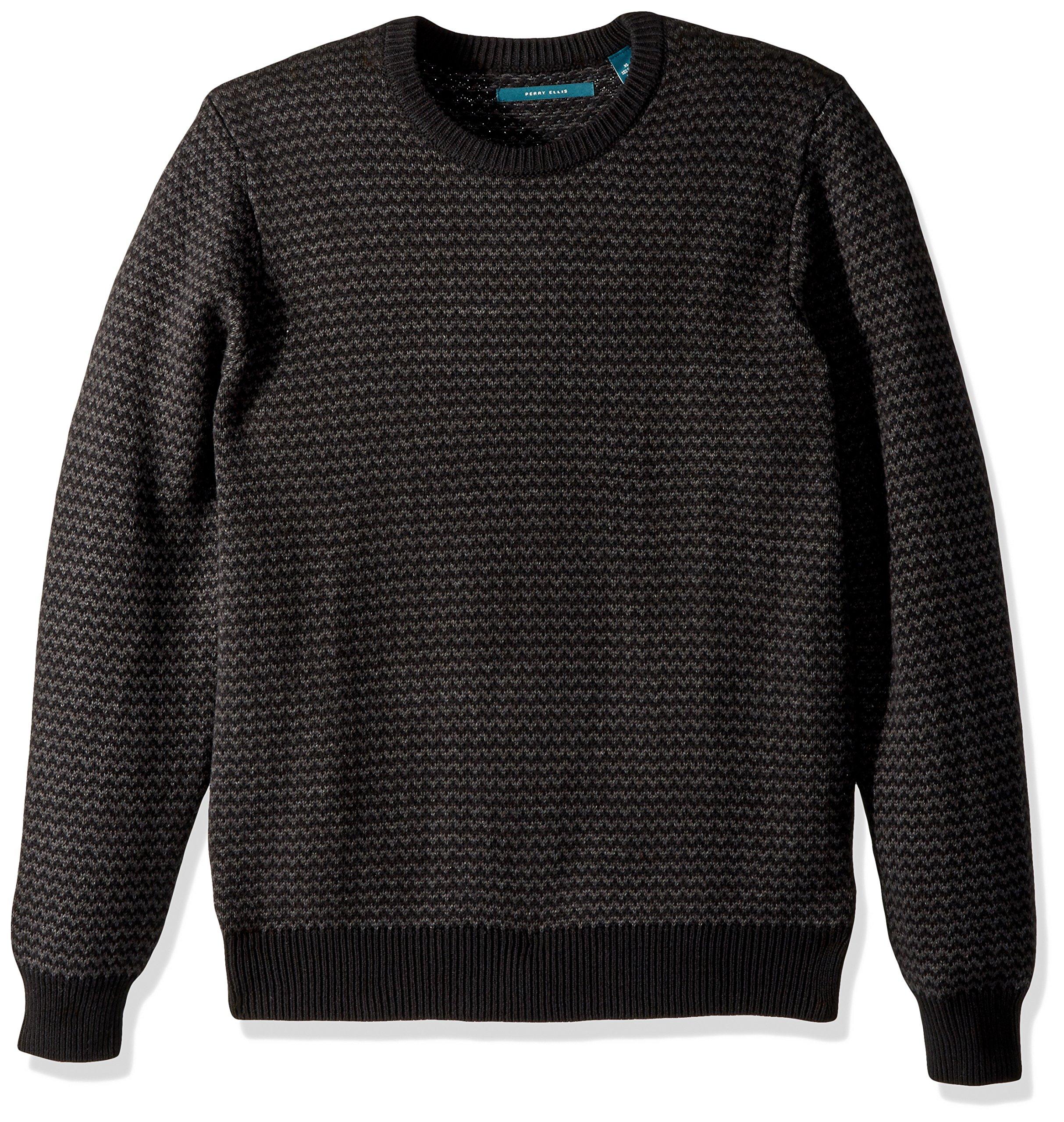 Perry Ellis Men's Herringbone Crew Neck Sweater, Black, Medium