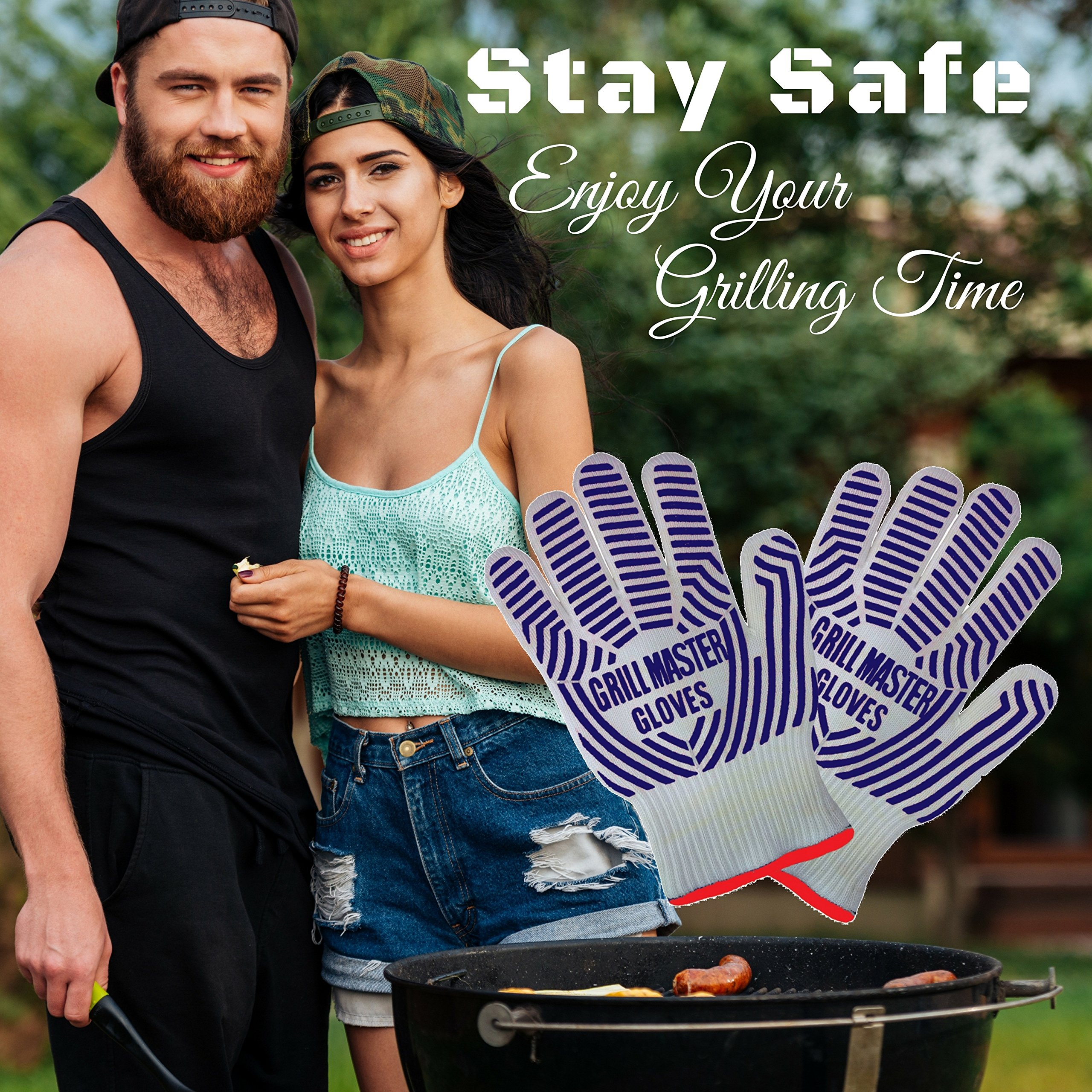Grill Gloves Heat Resistant Extreme BBQ Gloves Oven Gloves Rated to 932f - Ideal Grilling Gloves by Grill Master (Black) by Grill Master Gloves (Image #3)