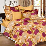 Ahmedabad Cotton Basics 136 TC Cotton Double Bedsheet with 2 Pillow Covers - Floral, Brown
