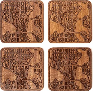 Seattle Map Coaster by O3 Design Studio, Set Of 4, Sapele Wooden Coaster With City Map, Handmade