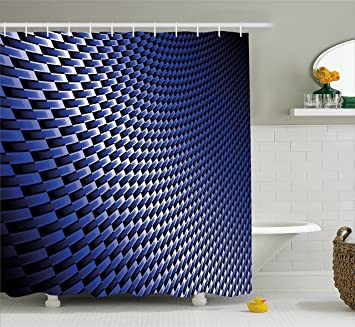 royal blue shower curtain. Dark Blue Shower Curtain by Ambesonne  Curvy Carbon Fiber Texture Image Abstract Industrial Modern Grid Amazon com