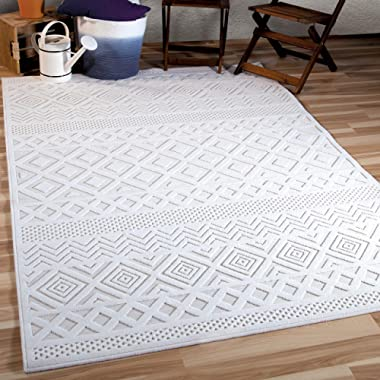 Orian Rugs Boucle Collection 394238 Indoor/Outdoor High-Low Coastal Diamond Area Rug, 7'9  x 10'10 , Natural Ivory