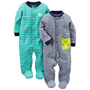 Simple Joys by Carter's Baby Boys' 2-Pack Cotton Footed Sleep and Play, Navy/Turquoise Stripe, Preemie