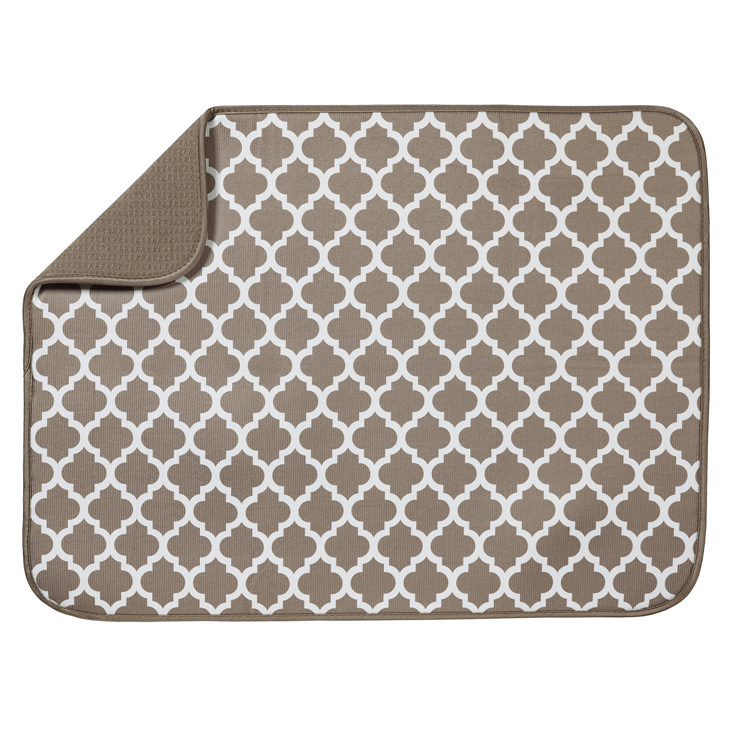S&T XL Microfiber Dish Drying Mat, 18'' x 24'', Taupe Trellis by STS