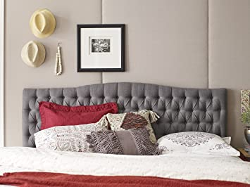 elle decor queen tufted headboard in gray - Tufted Bed Frame Queen